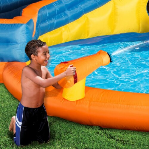 Banzai Pipeline Twist Kids Inflatable Outdoor Water Pool Aqua Park and Slides Perspective: bottom