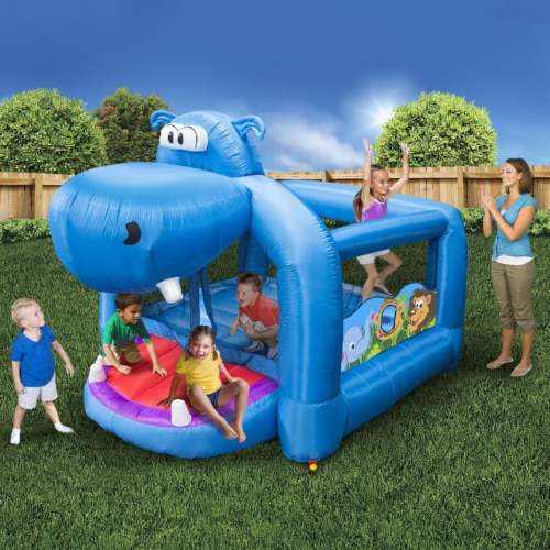 Banzai Happy Hippo Inflatable Bouncer Blow Up Bouncing House w/ Mesh Walls Perspective: bottom