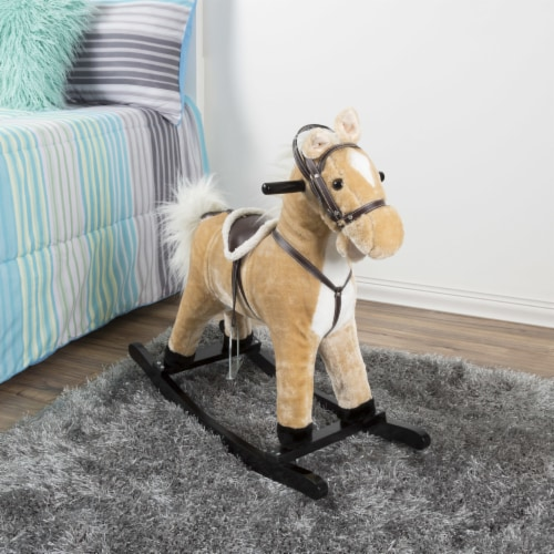 Happy Trails Rocking Horse Toddler to 4 Yrs Wooden Rocker Stuffed Animal Noise Saddle Reins Perspective: bottom
