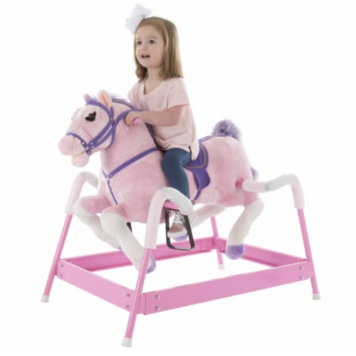 Plush Pink Rocking Riding Bouncing Horse Pony on Springs Galloping and Neighing Sounds Perspective: bottom