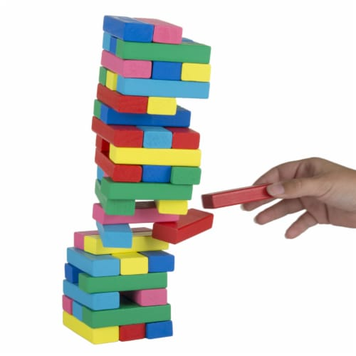 Classic Wooden Blocks Stacking Game with Colored Wood and Carrying Bag Perspective: bottom