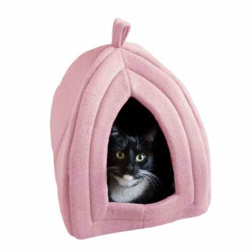Pink Cat Pet Igloo Cave Enclosed Covered Tent House Removable Cushion Bed Perspective: bottom
