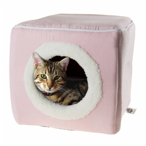 Pink Cat Cave Hide Out Cube Bed 13 x 12 Removable Pillow Makes Cat Feel Safe Cubby Perspective: bottom