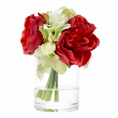 Glass Vase Artificial Hydrangea Rose Floral Arrangement Centerpiece 6.5 x 3.25 Perspective: bottom