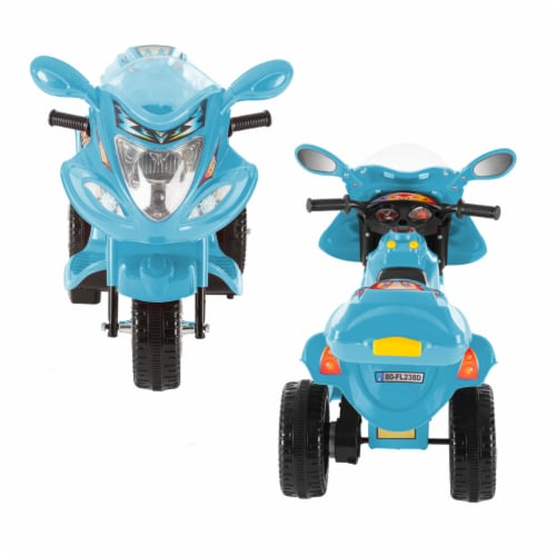 Battery Operated Powered Bike Three Wheeled Trike Motorcycle Ride On Toy 2 - 3 Yrs Blue Perspective: bottom
