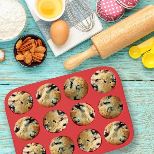 Silicone Cupcake Muffin Pan Tin Nonstick Baking Tray Dishwasher Safe BPA Free Perspective: bottom