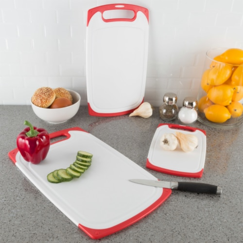 Plastic Cutting Board Set of 3 Chopping Boards Juice Groove Dishwasher Safe Perspective: bottom
