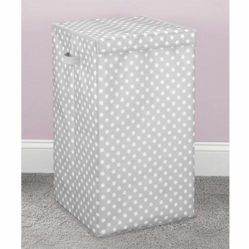 mDesign Large Laundry Hamper Basket, Hinged Lid, Polka Dot Print - Gray/White Perspective: bottom