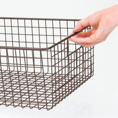 mDesign Metal Wire Food Organizer Storage Bins with Handles Perspective: bottom