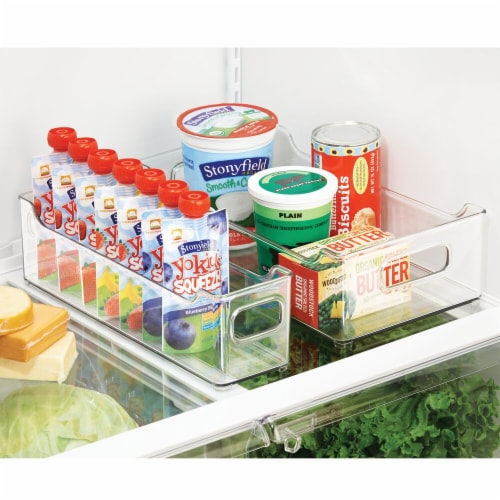 mDesign Slim Plastic Kitchen Pantry Cabinet Food Storage Bin, 4 Pack Perspective: bottom