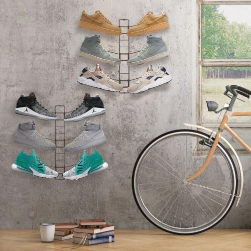 mDesign Metal Shoe Display & Storage Rack, 3 Tier, Wall Mount, 2 Pack - Bronze Perspective: bottom