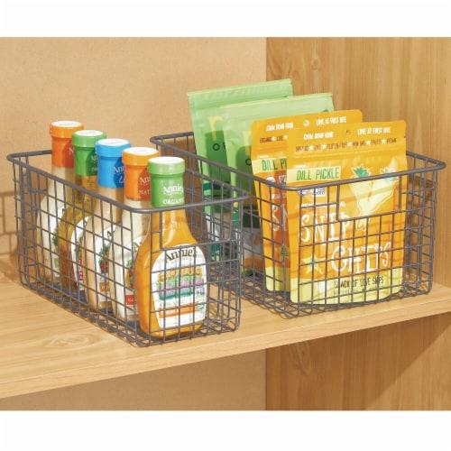 mDesign Metal Wire Food Storage Organizer Bin Perspective: bottom