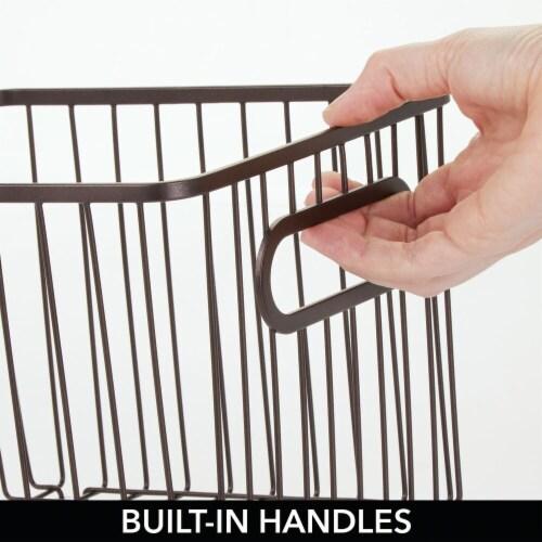 mDesign Deep Metal Bathroom Storage Organizer Basket Bin, 4 Pack - Bronze Perspective: bottom