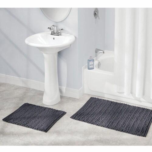 mDesign Soft Cotton Spa Mat Rug for Bathroom, Varied Sizes, Set of 3 - Navy Blue Perspective: bottom