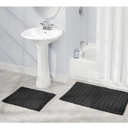 mDesign Soft Cotton Spa Mat Rug for Bathroom, Varied Sizes, Set of 3 - Black Perspective: bottom