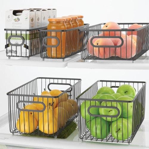 mDesign Metal Kitchen Pantry Food Storage Basket Bin, 8 Pack Perspective: bottom