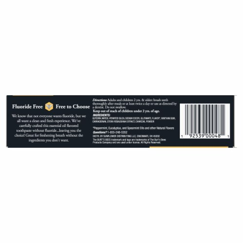 Burt's Bees® Zen Peppermint Charcoal + Whitening Fluoride-Free Natural Toothpaste Perspective: bottom
