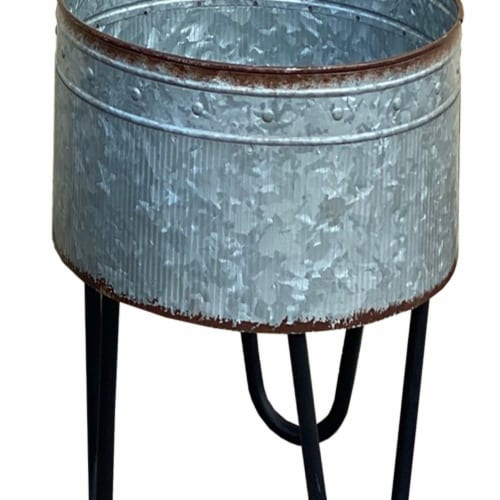 Benzara Round Galvanized Planters Perspective: bottom