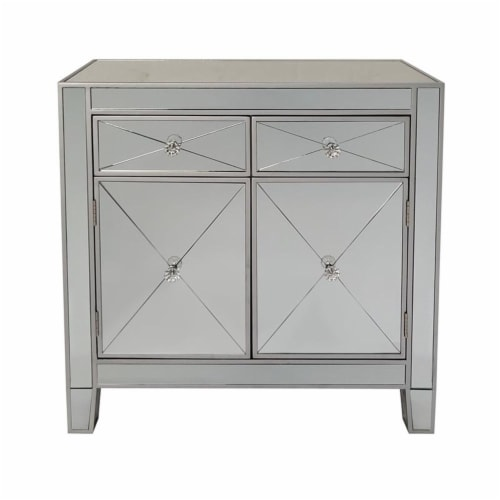 2 Door Storage Cabinet with 2 Drawers and Mirror Inserts, Gray and Silver ,Saltoro Sherpi Perspective: bottom