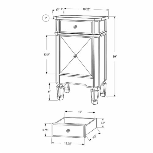 1 Door Storage Cabinet with 1 Drawer and Mirror Inserts, Gray and Silver ,Saltoro Sherpi Perspective: bottom