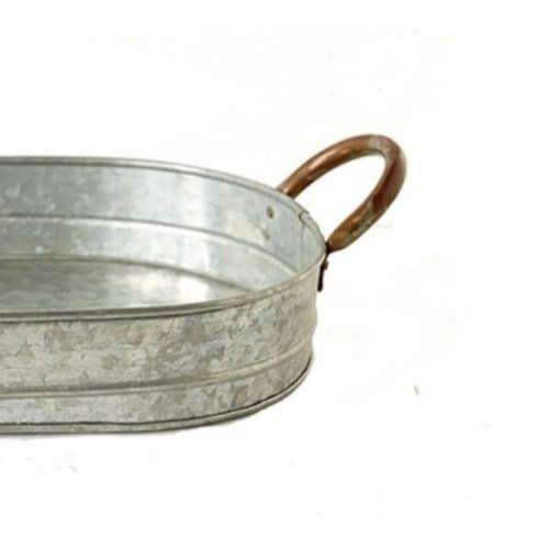 Galvanized Oblong Metal Tray with Ear Handles, Gray ,Saltoro Sherpi Perspective: bottom