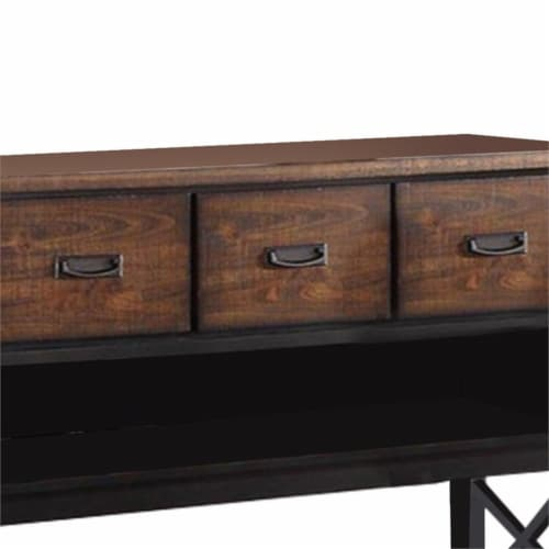 Benjara 52  Contemporary Rubber Wood Server with Spacious Storages in Brown Perspective: bottom