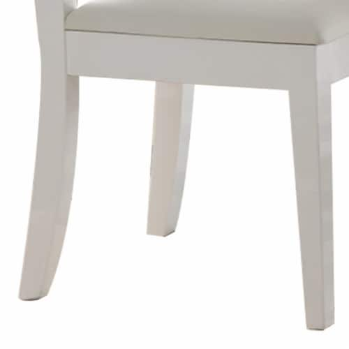Benzara Wooden Dining Chairs 2 Pack - White Perspective: bottom