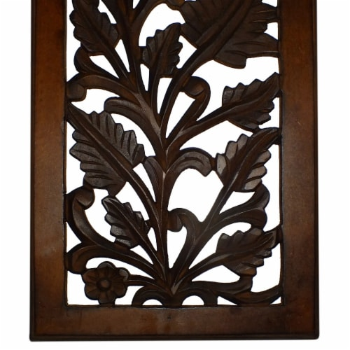 Benzara Leaves and Scrollwork Pattern Mango Wood Wall Panel - Brown Perspective: bottom