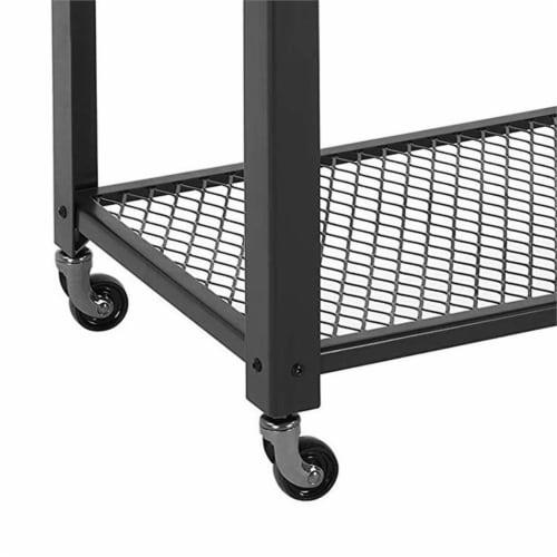 Saltoro Sherpi 3 Tier Wooden Serving Cart with 2 Mesh Design Shelves, Black and Brown Perspective: bottom