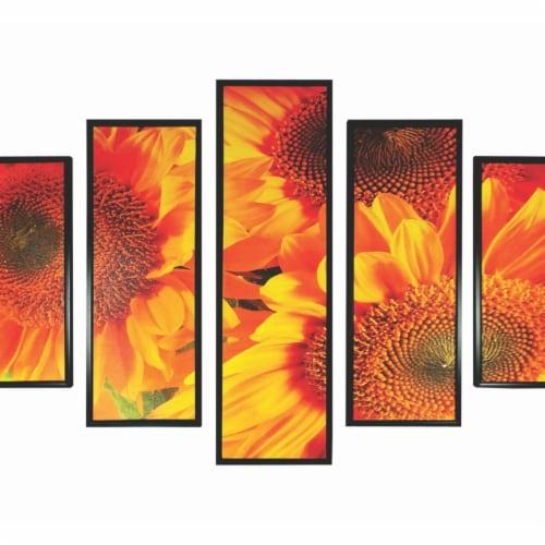 Saltoro Sherpi 5 Piece Wooden Wall Decor with Sun Flower Imprint, Yellow and Black Perspective: bottom