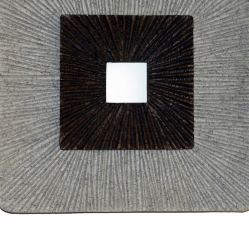Saltoro Sherpi Square Shaped Wall Decor with Ribbed Details, Large, Brown and Gray Perspective: bottom