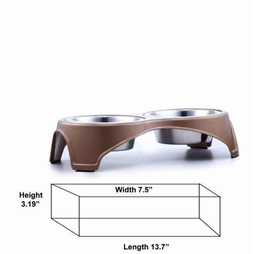 Saltoro Sherpi Plastic Framed Double Diner Pet Bowl in Stainless Steel, Small, Gold and Perspective: bottom