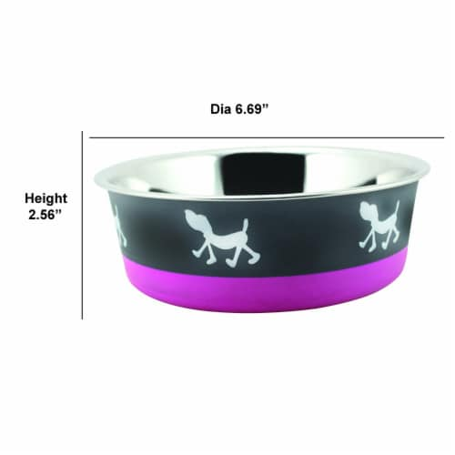Saltoro Sherpi Stainless Steel Pet Bowl with Anti Skid Rubber Base and Dog Design, Gray and Perspective: bottom