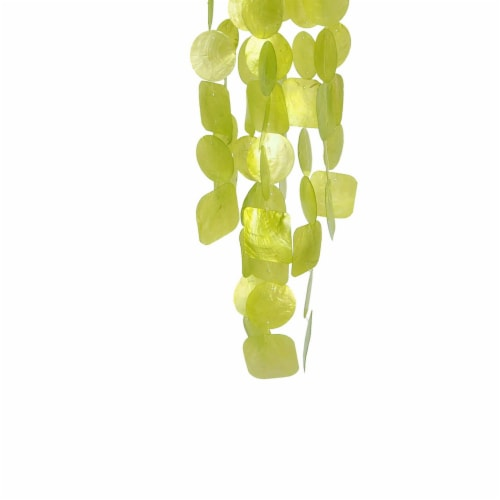 Benzara Handmade Wind Chime with Capiz Shell Hangings - Green Perspective: bottom