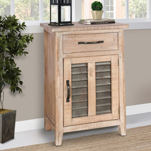 Farmhouse Storage Accent Cabinet with Drawer and Metal Insert Door, Large, Brown ,Saltoro Perspective: bottom