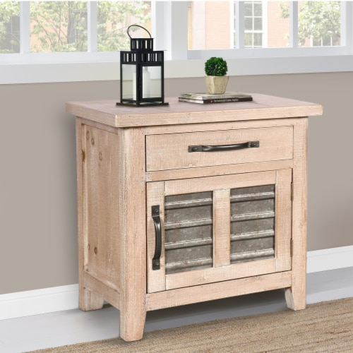 Farmhouse Storage Accent Cabinet with Drawer and Metal Insert Door, Small, Brown ,Saltoro Perspective: bottom
