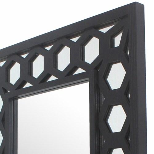 Saltoro Sherpi Rectangular Wooden Dressing Mirror with Lattice Pattern Design, Black Perspective: bottom