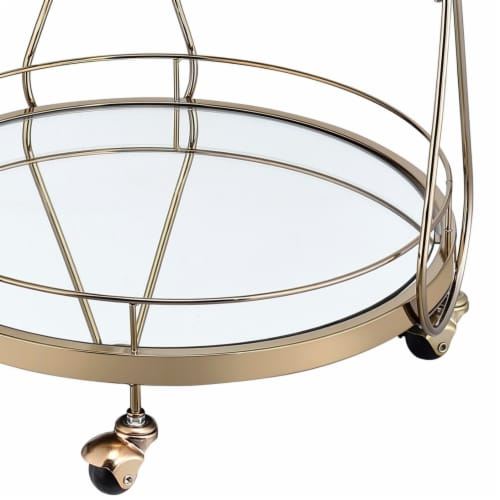 Saltoro Sherpi Serving Cart with 2 Glass Shelves and Caster Support, Gold and Clear Perspective: bottom