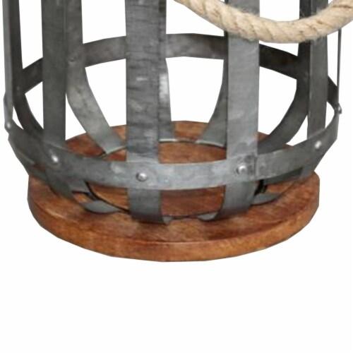 Benzara Hanging Galvanized Lantern - Gray Perspective: bottom