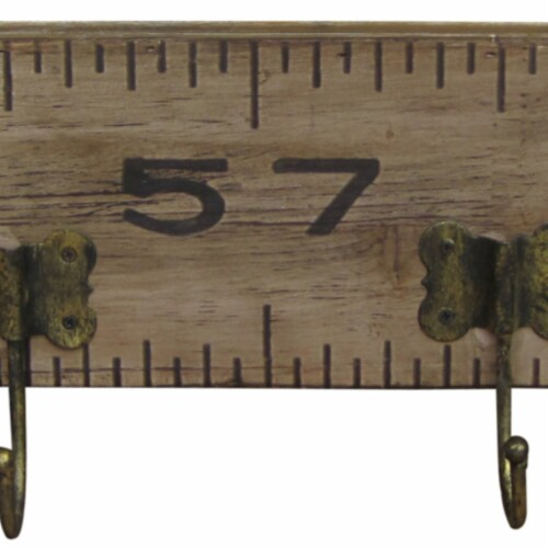 Saltoro Sherpi Contemporary Wooden Rustic Plaque with Ruler Style Design, Brown Perspective: bottom