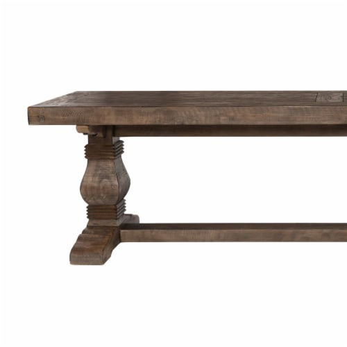 Saltoro Sherpi 66 Inch Plank Top Wooden Bench with Pedestal Base, Brown Perspective: bottom