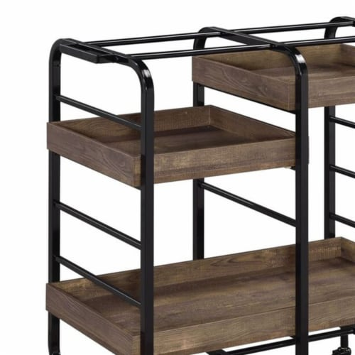Saltoro Sherpi Metal Frame Serving Cart with 3 Open Storage and Casters, Brown and Black Perspective: bottom