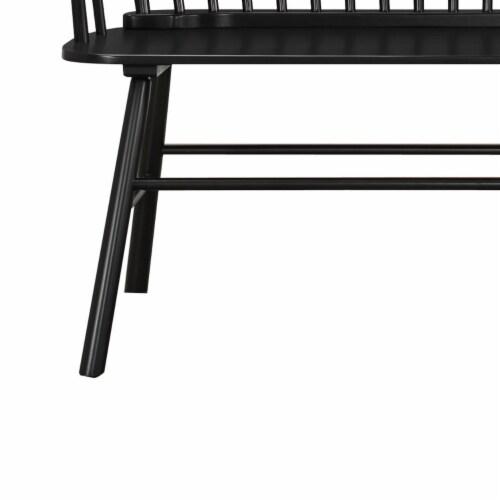 Benjara 19  Transitional Solid Wood Curved Design Spindle Back Bench in Black Perspective: bottom