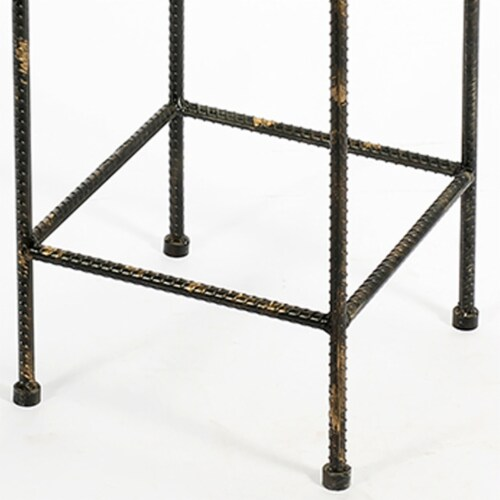 Saltoro Sherpi Scrolled Metal Frame Plant Stand with Square Top, Medium, Black Perspective: bottom