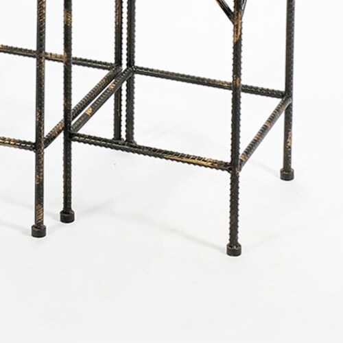 Saltoro Sherpi Scrolled Metal Frame Plant Stand with Square Top, Set of 2, Black Perspective: bottom