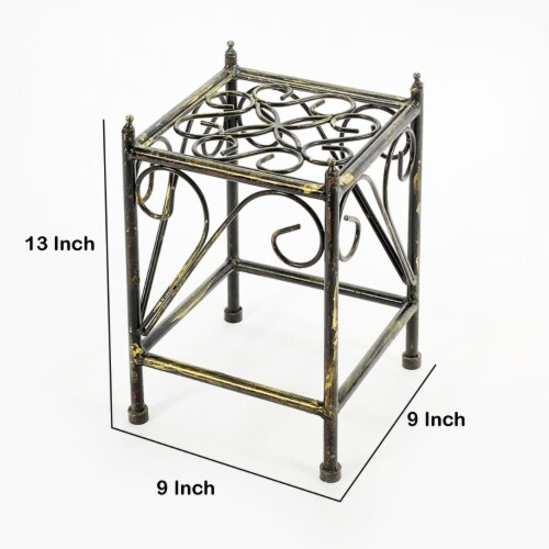 Saltoro Sherpi Lattice Cut Out Square Top Plant Stand with Tubular Legs, Small, Black Perspective: bottom