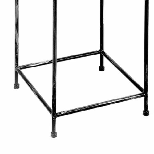 Saltoro Sherpi Lattice Cut Square Top Plant Stand with Tubular Legs, Large, Black Perspective: bottom