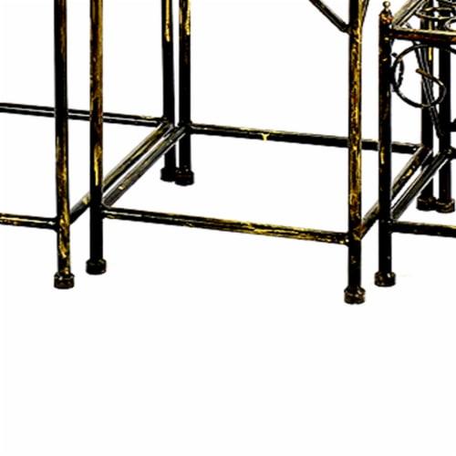 Saltoro Sherpi Lattice Cut Square Top Plant Stand with Tubular Legs, Set of 3, Black Perspective: bottom