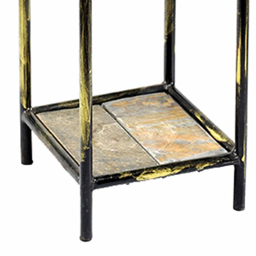 Saltoro Sherpi 2 Tier Square Stone Top Plant Stand with Metal Frame, Small, Black and Gray Perspective: bottom