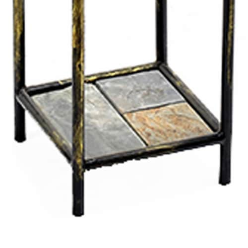 Saltoro Sherpi 2 Tier Square Stone Top Plant Stand with Metal Frame, Large, Black and Gray Perspective: bottom